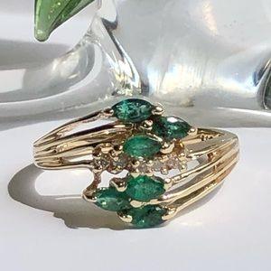 Jewelry - 10K Yellow Gold Emeralds & Diamonds Ring